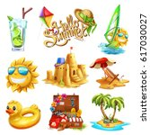 summer set. 3d vector icon | Shutterstock .eps vector #617030027