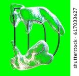 cool letter d made of metal... | Shutterstock . vector #617033627