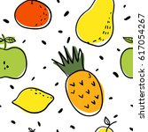 funny fruits seamless pattern ... | Shutterstock .eps vector #617054267