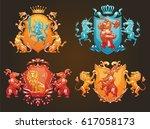 vector set of various heraldic... | Shutterstock .eps vector #617058173