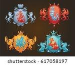 vector set of various heraldic...   Shutterstock .eps vector #617058197