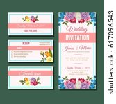wedding invitation template | Shutterstock .eps vector #617096543