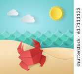 crab on the beach sea ocean ... | Shutterstock .eps vector #617111123