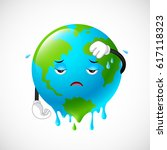 stop global warming. planet... | Shutterstock .eps vector #617118323