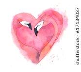 watercolor pink flamingo couple....   Shutterstock . vector #617134037