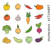 icons of vegetables. cooking... | Shutterstock .eps vector #617144897
