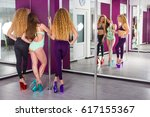 pretty pole dancer practicing... | Shutterstock . vector #617155367