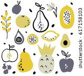 fruits and berries flat icons...   Shutterstock .eps vector #617158103