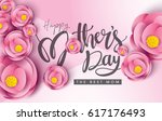 colorful flower with happy... | Shutterstock .eps vector #617176493