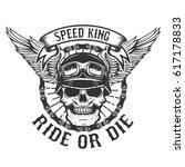 racer skull with wings. biker... | Shutterstock . vector #617178833