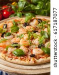 pizza with shrimps. front view. ... | Shutterstock . vector #617187077