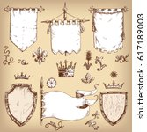 hand drawn collection of... | Shutterstock . vector #617189003