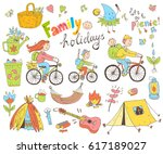 set of cute doodle family and... | Shutterstock . vector #617189027
