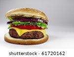 a fresh cheeseburger on gray... | Shutterstock . vector #61720162