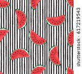 water melon seamless pattern... | Shutterstock .eps vector #617219543