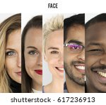 set of diversity people happy... | Shutterstock . vector #617236913