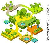banner isometric topiary with... | Shutterstock .eps vector #617249213