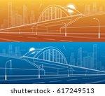 railway bridge  empty highway....   Shutterstock .eps vector #617249513