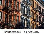 colorful soho building facades... | Shutterstock . vector #617250887
