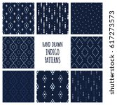 set of hand drawn indigo blue... | Shutterstock .eps vector #617273573