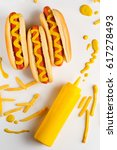 appetizing hot dogs with... | Shutterstock . vector #617278493
