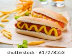 traditional hot dogs with... | Shutterstock . vector #617278553