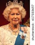 Small photo of Queen Elizabeth ii 2, London, United Kingdom - March 20, 2017: Queen Elizabeth ii 2 portrait waxwork wax figure at museum, London