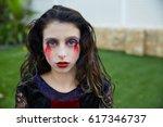 halloween kid girl costume with ...   Shutterstock . vector #617346737