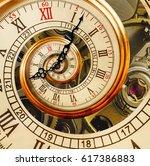 golden yellow antique old clock ... | Shutterstock . vector #617386883
