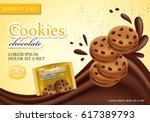 sandwich chocolate cookies... | Shutterstock .eps vector #617389793