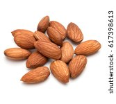 almond nuts isolated on white... | Shutterstock . vector #617398613