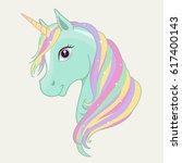 green  mint unicorn vector head ... | Shutterstock .eps vector #617400143