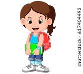 cute girl go to school cartoon   Shutterstock . vector #617404493