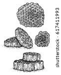 honeycomb illustration  drawing ... | Shutterstock .eps vector #617411993
