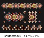 crochet  lace. a carpet of... | Shutterstock .eps vector #617433443
