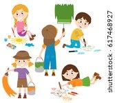 set of isolated children artist ... | Shutterstock .eps vector #617468927