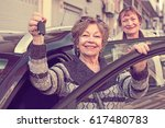 female driver in golden age... | Shutterstock . vector #617480783