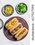 selection of classic hot dogs... | Shutterstock . vector #617517593