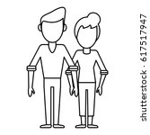 outlined couple people...   Shutterstock .eps vector #617517947