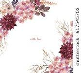 watercolor flowers set.... | Shutterstock . vector #617545703