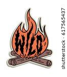 camp fire illustration | Shutterstock .eps vector #617565437