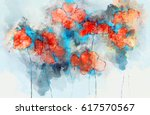 Abstract Red Poppy Flowers On...