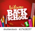back to school vector banner... | Shutterstock .eps vector #617628257