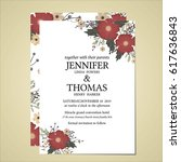 wedding invitation card printed ... | Shutterstock .eps vector #617636843