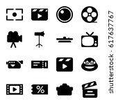 movie icons set. set of 16... | Shutterstock .eps vector #617637767