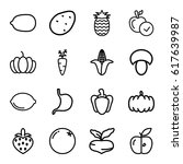 vegetarian icons set. set of 16 ... | Shutterstock .eps vector #617639987