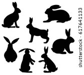 the hare and rabbit  set of... | Shutterstock .eps vector #617641133