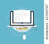 e learning flat vector... | Shutterstock .eps vector #617652767