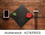 japanese food background. empty ...   Shutterstock . vector #617655023