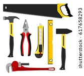set of tools  worker kit.... | Shutterstock . vector #617658293